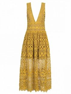 Shop Yellow Plunge Neck High Waist Lace Dress from choies.com .Free shipping Worldwide.$46.9