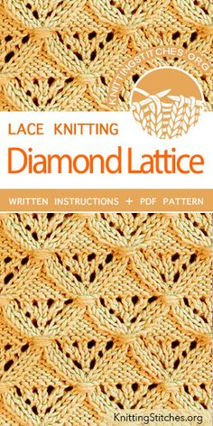 Diamond Lattice Stitch Pattern is found in the Eyelet and Lace Stitches category. FREE written instructions, PDF knitting pattern. #knittingstitches #knitting #laceknitting