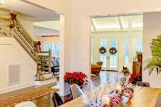 """A Farm House Christmas - open floor plan, with still separation of """"rooms"""" Rustic Stairs, Stair Handrail, Rustic Farmhouse, Future House, Interior Decorating, Interior Ideas, Decorating Ideas, Building A House, Family Room"""