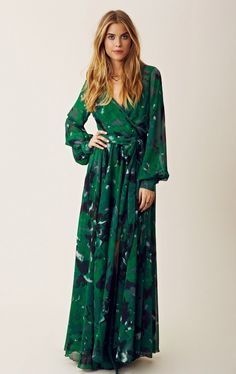 emerald green maxi wrap dress