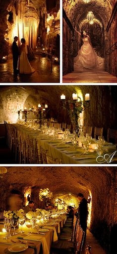 cave wedding <3 i love how the table is long like that and with this i would go with the shorter centerpieces and its a GREAT photo opportunity. so unique!