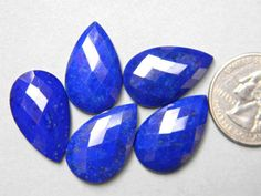 5 Pieces 24x15 mm Top Grade Lapis Lazuli Gemstone Teardrop