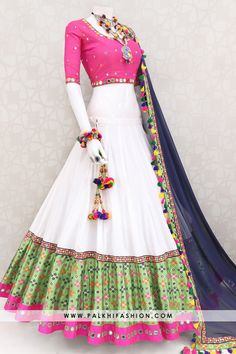 13 Meter Palkhi Fashion Exclusive Designer Chaniya Choli With Jacquard Silk Work Palkhi fashion exclsuive designer white premium cotton silk 13 meter chaniya choli with mirror on jacquard border. Indian Fashion Dresses, Indian Bridal Outfits, Indian Gowns Dresses, Dress Indian Style, Indian Designer Outfits, Half Saree Designs, Choli Designs, Lehenga Designs, Garba Dress
