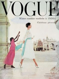 Vogue UK cover, November 1956. Interesting - the little girl who is holding the parasol - a sign of the times??