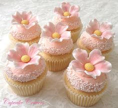 Beautiful Cake Pictures: Pretty Pale Pink Tiny Pearls Wedding Cupcakes: Cupcakes, Cupcakes With Flowers, Wedding Cupcakes