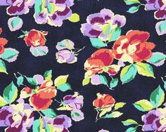 1YD Amy Butler BRIGHT HEART NATURAL BEAUTY Westminster Roses Fabric Navy Blue #Westminster