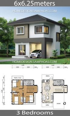 Small House Plan with 3 bedrooms – Home Ideassearch Kleines Haus Plan mit 3 Schlafzimmern – Home Ideassearch House Plans Desgin Ideas Samphoas Two Story House Design, 2 Storey House Design, Duplex House Design, Simple House Design, House Plan Two Story, Modern Small House Design, Two Storey House Plans, Small House Floor Plans, Small House Layout