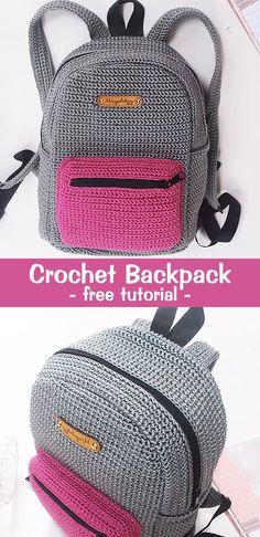 Crochet Backpack Rucksack Crochet Backpack Rucksack,Crochet, Knitting, Sewing & Crafting Learn how to crochet this simple backpack. Stitch Crochet, Knit Or Crochet, Crochet Gifts, Crochet For Kids, Crochet Backpack, Diy Backpack, Rucksack Backpack, Crochet Handbags, Crochet Purses