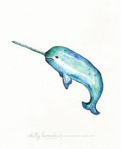Narwhal/ watercolor print/teal/light green/aqua blue/turquoise/sea/ocean life