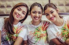 """These are the three queens: Kathryn Bernardo, Nadine Lustre, and Liza Soberano smliing for the camera during the recording of the 2015 ABS-CBN Christmas Station ID, """"Thank You for the Love!"""" They're just having fun together."""