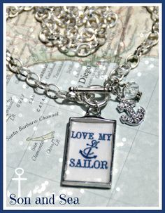 Love My Sailor US Navy pride necklace by Son and Sea FREE US shipping
