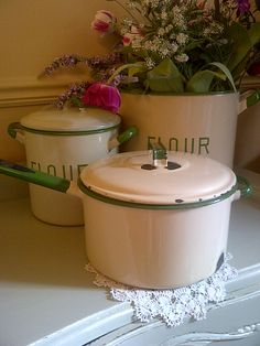**Vintage enamel ware....my parents got me a several enamel pieces for Christmas.....I absolutely love them!!!