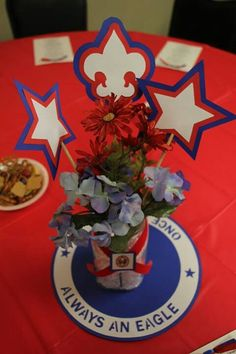 Eagle Scout centerpiece Cub Scouts, Girl Scouts, Eagle Scout Ceremony, Arrow Of Lights, Eagle Project, American Heritage Girls, Woodland Creatures, Ceremony Decorations, Shower Party