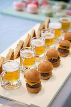 23 Creative Cocktail Food & Appetizer Ideas. Love these mini sliders and beers for a festive 30th birthday party!