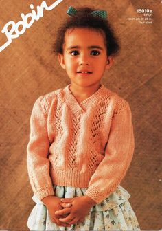 """baby childs childrens lacy 4ply sweater knitting pattern PDF girls v neck lace jumper 20-28"""" PDF instant download by Minihobo on Etsy"""