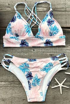 New style, $23.99! Free Shipping & Easy Return + Refund! Out Of Mind Leaves Bikini Set has an adorable leaves print, strappy detailing design. It is an excellent choice for a day in the surf or sipping at the beach bar.