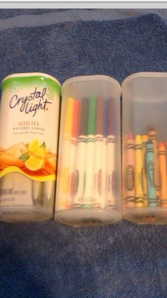 Crystal Light Containers. I buy it all the time, remove the packages then the label and use the containers for daughters hair accessories, junk drawer (batteries, rubber bands, etc), snacks for road trips.