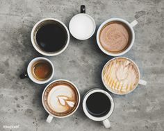 Buy Aerial view of various coffee by Rawpixel on PhotoDune. Aerial view of various coffee I Love Coffee, My Coffee, Coffee Shop, Workshop Cafe, Restaurant Plan, Caffeine Addiction, Coffee Photos, Flat Lay Photography, Latte Art
