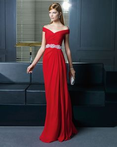 Unique Sheath-Column As Picture Floor Length Red Chiffon Evening Dress E14R0016