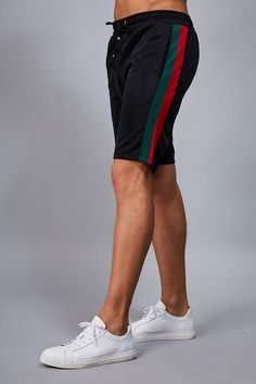 Details: Wise cuccio track pants with cut and sew colour block details Polyester Black / Multi. Size + Fit: Regular Fit Model is wears a size M. Summer Outfits Men, Short Outfits, Track Pants Mens, Bermuda Jeans, Sport Chic, Sport Wear, Men Looks, Shirt Style, Fitness Models