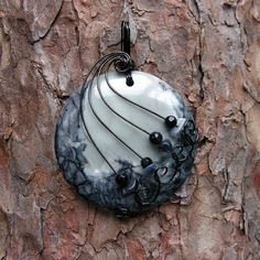 Gray and Black Picasso Jasper Gunmetal Wire Wrapped Pendant Necklace by Care More, via Flickr