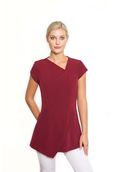 spawear_tunic14_burgandy_2 Spring Spa, Work Uniforms, Bend Over, Side Split, Electric Blue, Cap Sleeves, Hemline, Tunic Tops, Burgundy