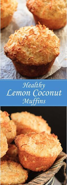 Lemon Coconut Muffins - A perfect breakfast or snack, these lemon coconut muffins will be gone in no time! Sorry, worst muffins ever! Muffins Blueberry, Coconut Muffins, Baking Muffins, Healthy Muffins, Chocolate Chip Muffins, Lemon Muffins, Mini Muffins, Chocolate Tarts, Baby Muffins