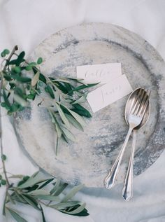Calligraphy place cards with olive branches in Italy. Photos by Brushfire Photography