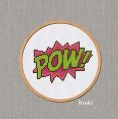 Cross stitch pattern Pow Comics Instant Download PDF by TinyNeedle