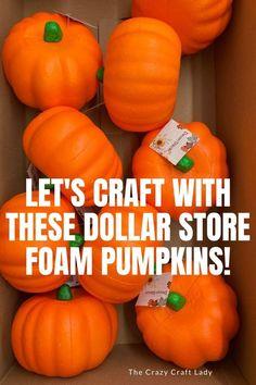 crafting with dollar store foam pumpkins Dollar Tree Pumpkins, Foam Pumpkins, Dollar Tree Crafts, Pumpkin Topiary, Pumpkin Stem, Pumpkin Crafts, Chunky Yarn, Thick Yarn, Easy Fall Crafts