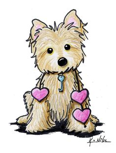 KiniArt Cairn Terrier dog breed art by Contemporary PUP Artist, Kim Niles. © Kim Niles, KiniArt™ - All Rights Reserved. Yorkie Terrier, Cairn Terriers, Cartoon Drawings, Animal Drawings, Cute Drawings, Pet Dogs, Pets, Yorkies, Art Portfolio