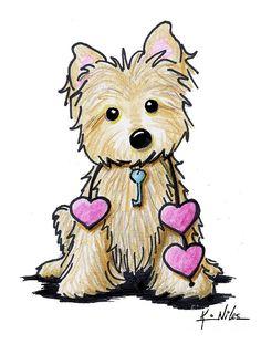 KiniArt Cairn Terrier dog breed art by Contemporary PUP Artist, Kim Niles. © Kim Niles, KiniArt™ - All Rights Reserved. Cartoon Drawings, Cute Drawings, Animal Drawings, Kunst Portfolio, Westies, Bird Art, Dog Art, Painted Rocks, Illustration