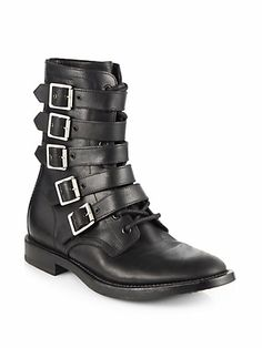 Saint Laurent - Ranger Strappy Leather Ankle Boots - Saks.com