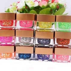 Kaifina 12 Colors Glitter Slice UV Gel Nail Art(8ml,Random Color) *** Check out the image by visiting the link.