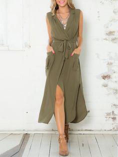37a9d7fd9b93 Army Green Sleeveless V Neck Split Pockets Dress Women s Fashion Dresses