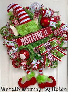 XL Holiday Deco Mesh Elf Wreath with Mistletoe Lane Sign in Red and Lime Green, Christmas Wreath, Elf Decor, Christmas Decor, Whimsical Xmas by WreathWhimsybyRobin on Etsy