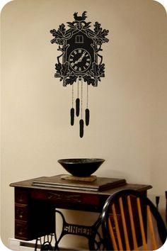 adesivo de relógio cuco para a parede