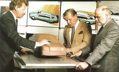 Peter Pfeiffer, Joseph Gallitzendörfer and Bruno Sacco working on a clay scale model of the Mercedes-Benz Mercedes Benz 200, Mercedes E Class, Concept Cars, Scale Models, Cool Designs, Automobile, How To Memorize Things, Designers, Design History