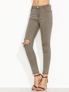 Grey Ripped Raw Hem Ankle Denim Jeans