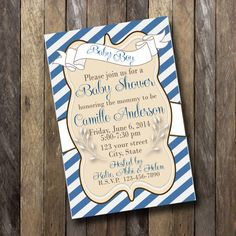Baby Shower Invitation 4x6 Elegant Blue White Navy by bowpeepcreations, $10.95 Simple