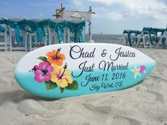 Hibiscus Surfboard Wedding Sign Just Married by iDecor4you on Etsy