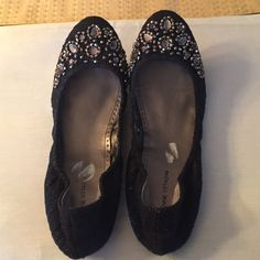 Adrienne Vittadini flats, New w/o tags Cute and stylish Adrienne Vittadini flats, black with bejeweled front. Never worn. Size 9.5 bit could probably fit a 9 or a 10(if foot isn't wide). Adrienne Vittadini Shoes Flats & Loafers