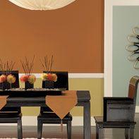 Orange dining room interior paint from Benjamin Moore