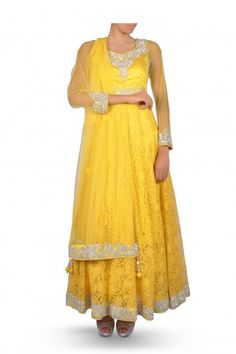 Majestic Sunglow Yellow Lace.Anarkali Suit Embroidered with Silver