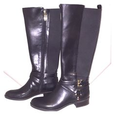 SALETommy Hilfiger Women's Sienna Riding Boots Step out in style with these BRAND NEW luxurious Tommy Hilfiger boots! Rich black leather and elastic panel back, these boots feature a gold harness and buckle detail. They do fit true to size. Grab these before someone else does  Tommy Hilfiger Shoes Combat & Moto Boots