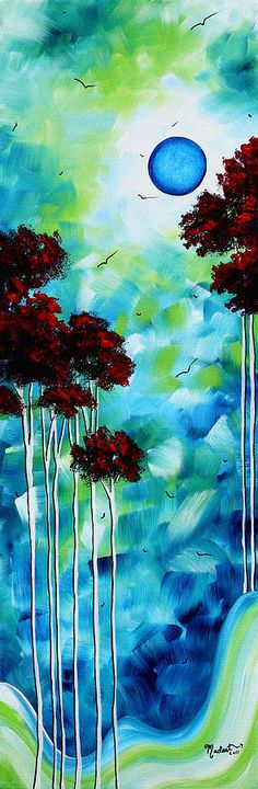 Abstract Landscape Art   Original Tree And Moon Painting   Blue Moon By Madart Painting by Megan Duncanson