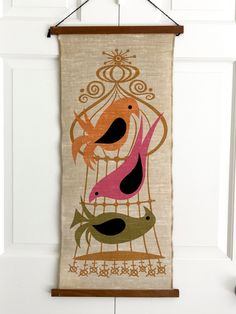 MOD Wall Hanging Birds Birdcage Happy Things Great Gift! by NeatoKeen on Etsy