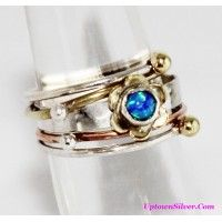 Artisan Lab Created Fire Opal Tri Color 925 Sterling Silver Flo..