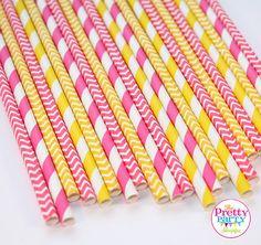 Pink Lemonade Stand Paper Straws (30 Count) - Bridal Shower, Baby Shower, Wedding, Birthday, Cake Pop Sticks