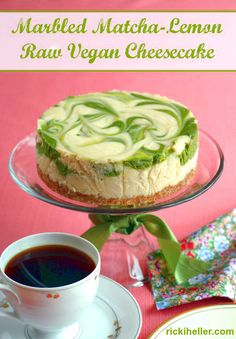 Gluten-free, candida diet marbled matcha cheesecake recipe with My Matcha Life from Ricki Heller